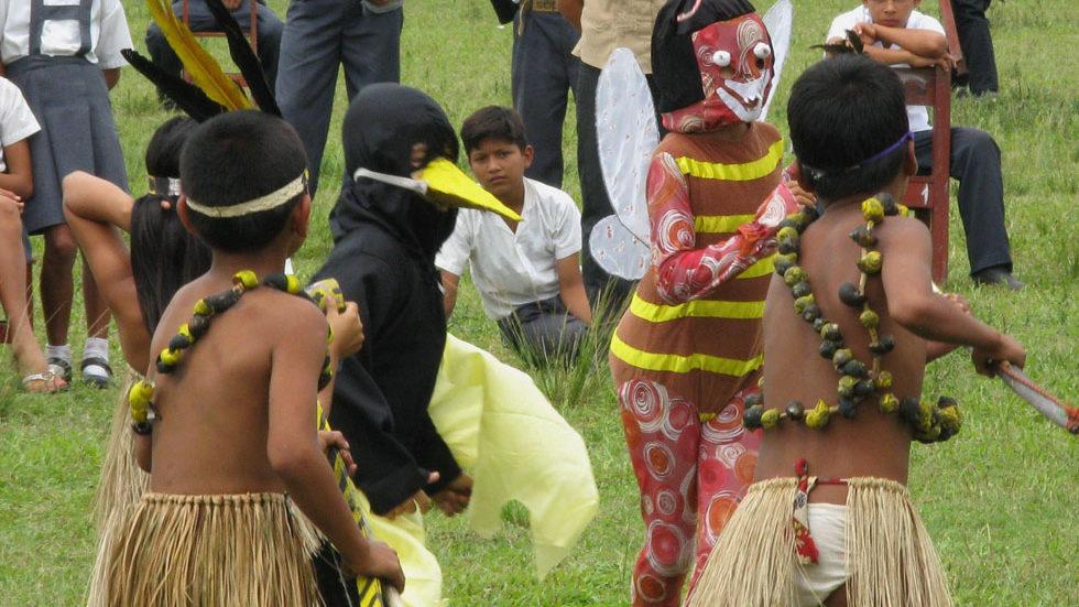 Kostümierte Schüler aus Yuyapichis zeigen zum Ehren der Forschergruppe aus Panguana einen Tanz, der die ökologischen Beziehungen von Stärlingen (schwarzes Kostüm mit gelbem Schnabel) zu den mit ihnen vergesellschafteten Wespen (rot-gelb gestreiftes Kostüm) ...