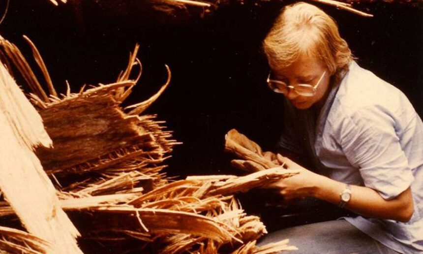 Juliane Diller putting on a glove before crawling into a fallen tree that is home to bats with sharp teeth (1982)