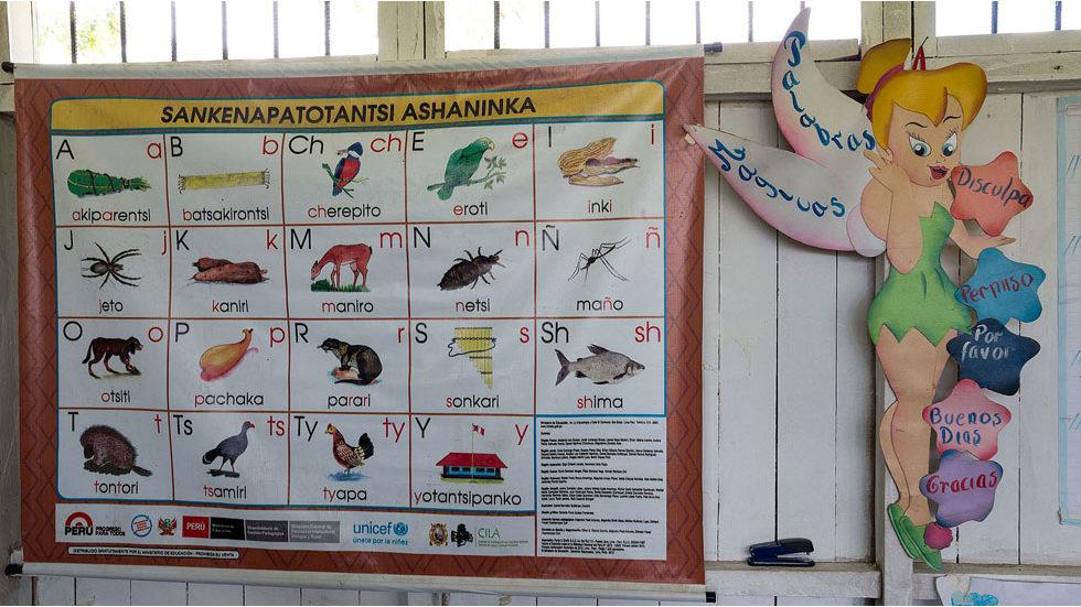 Das Asháninka-Alphabet und rechts wichtige höfliche Worte auf Spanisch (Foto: Konrad Wothe)