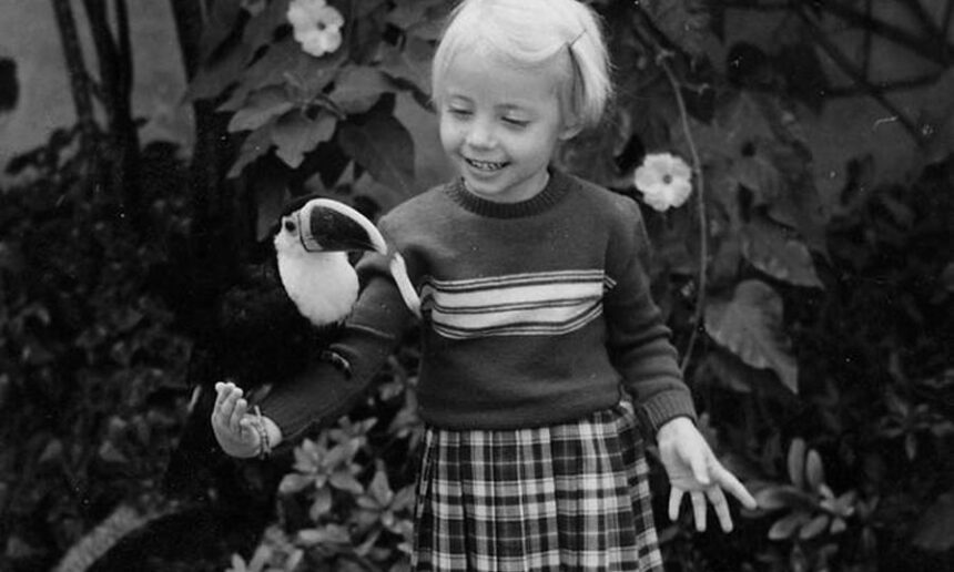 Pets came with the territory early on: Five-year-old Juliane is thrilled by her tame White-throated Toucan (1959) Photographs: H.-W. Koepcke